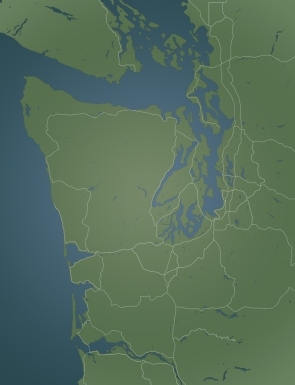 Washington state map with interstates & highways outlined